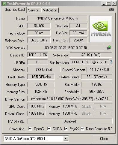 Обзор видеокарты ASUS GTX650Ti-DC2T-1GD5