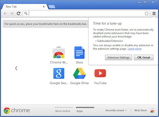 В Chrome 25 будет отключена возможность скрытой установки расширений