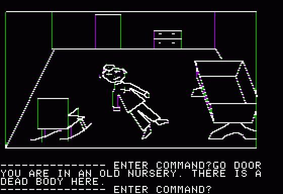 Mystery House, первое графическое приключение: герой обнаруживает очередной труп в детской…