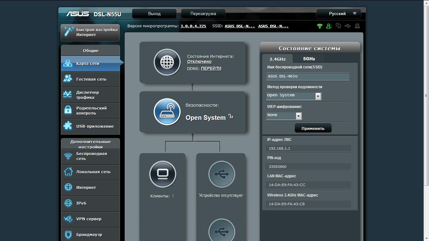 Основная страница интерфейса показывает схему сети - роутер, подключенных клиентов и внешние устройства.