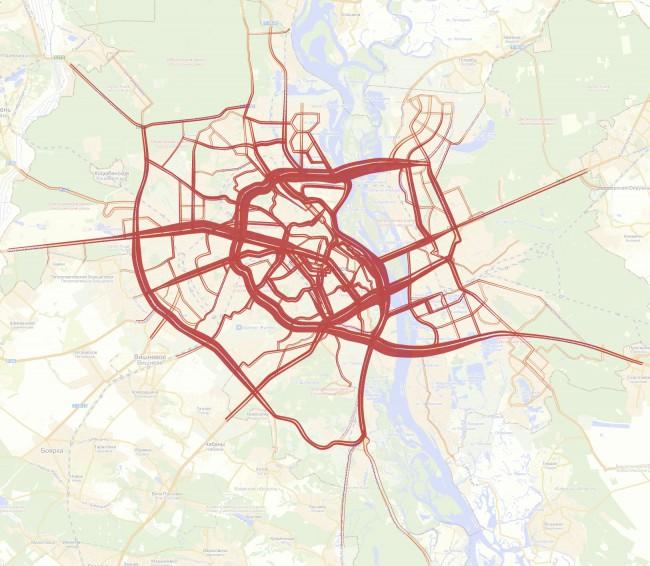 Вечерние автомобильные потоки Киева