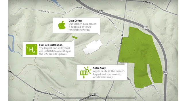 Apple использует 75% энергии, полученной из возобновляемых источников