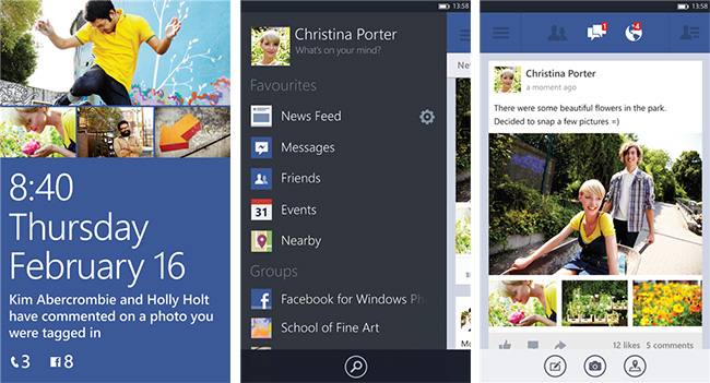 Бета-версия Facebook для Windows Phone 8 имеет дизайн, сходный с версией для Android и iOS