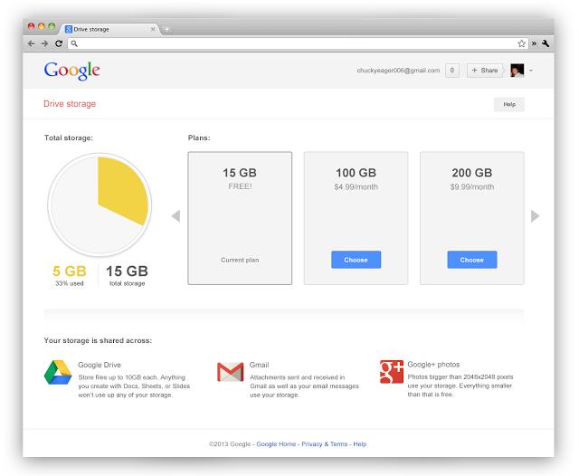 Google изменила подход к использованию дискового пространства сервисами Drive, Gmail и Google+ Photos