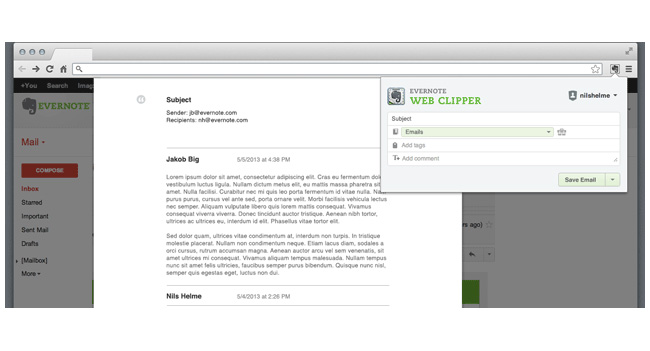Evernote расширила действие функции Web Clipping на почту Gmail