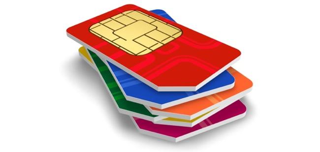 Set of color SIM cards