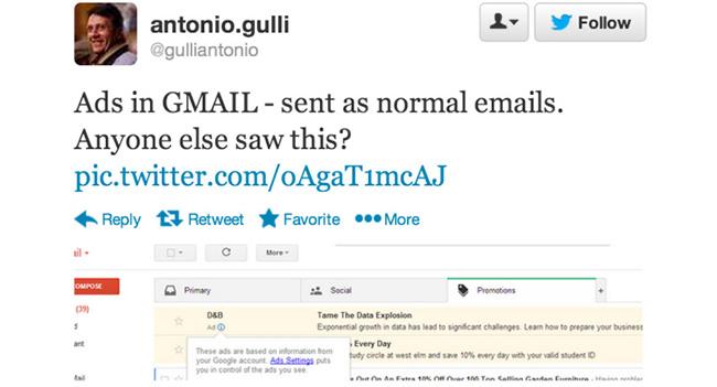 Google начала отправлять рекламные сообщения пользователям Gmail
