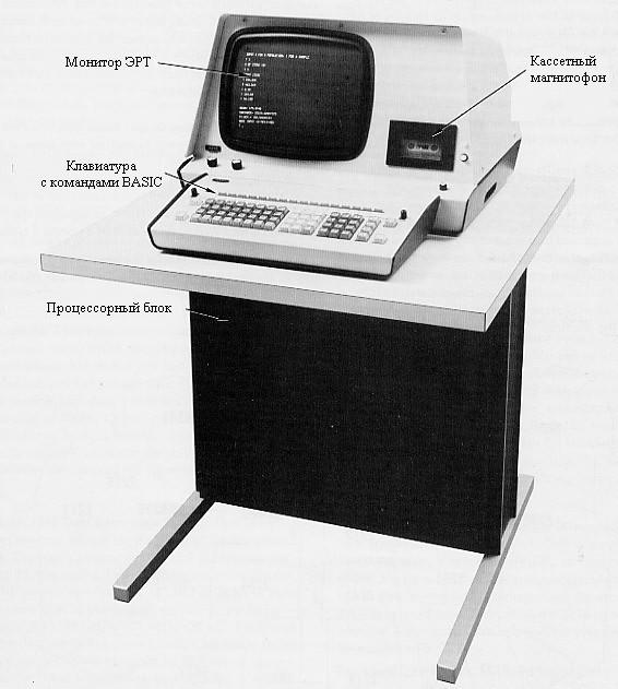 Миникомпьютер Wang 2200 выглядит очень даже похожим на более поздние ПК – однако, это всего лишь терминал: блок питания, принтер, НГМД и прочие модули занимают отдельные стойки