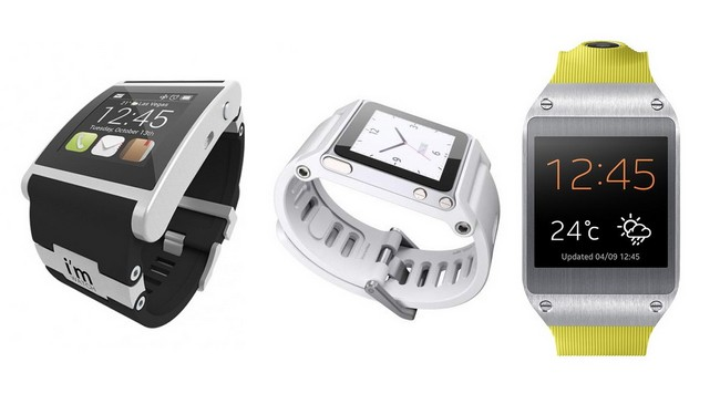 Модели i'M Watch, Apple iPod Nano (с ремешком) и Samsung Galaxy Gear