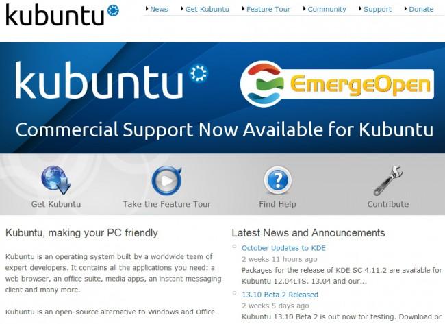 Официальная веб-страница Linux-дистрибутива Kubuntu