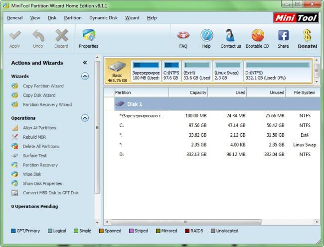Пример разбивки HDD для установки Ubuntu рядом с Windows