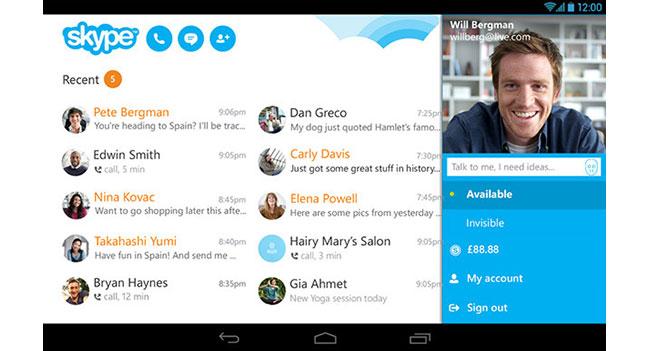 Skype Android планшет - фото 2