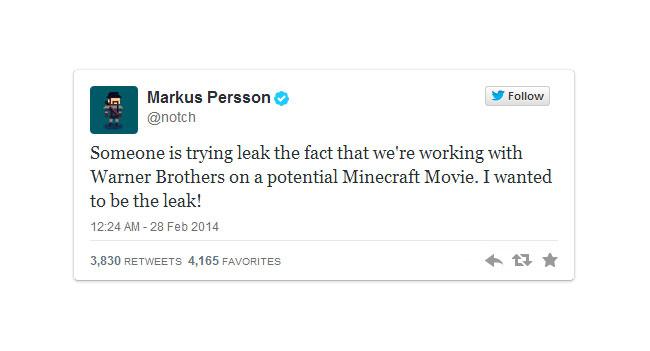 По игре Minecraft сделают фильм
