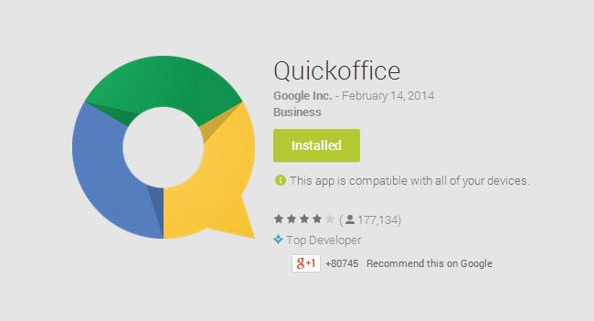 Google откажется от дальнейшего развития мобильного приложения Quickoffice