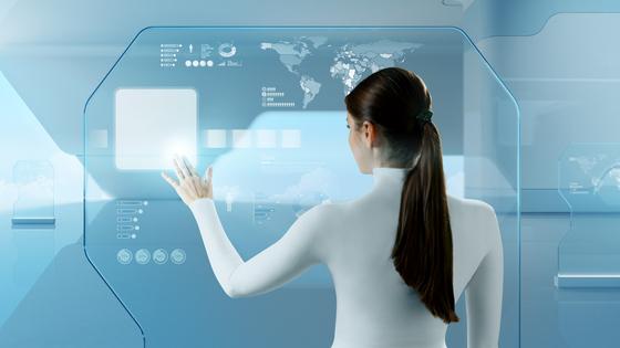 Future technology touchscreen interface. Girl touching screen in