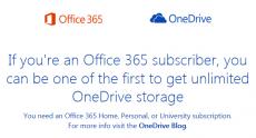 Подписчики Office 365 получат безлимитный доступ к облачному хранилищу OneDrive