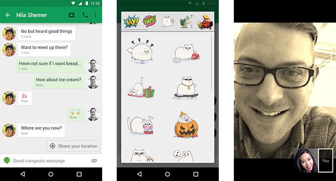Google добавила в приложение Hangouts стикеры, фильтры для видео и геолокационные подсказки