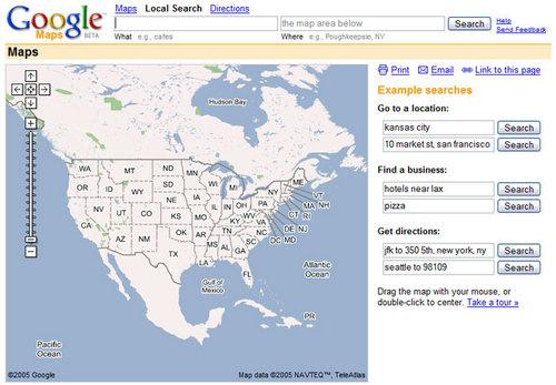 Так выглядели Google Карты в момент запуска