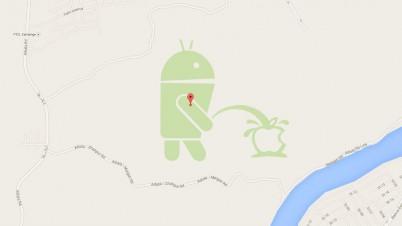 Обновлено: В картах Google обнаружена новая «пасхалка» – талисман-логотип Android, писающий на логотип Apple