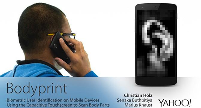 Bodyprint - технология биометрической идентификации на базе сенсорного дисплея смартфона