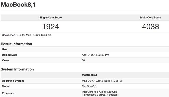 Производительность MacBook соответствует производительности топовой версии MacBook Air 2011 года