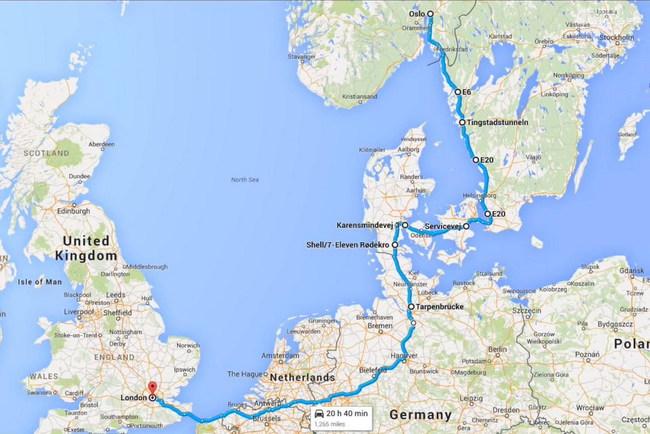 Поездка из Осло в Лондон (2,1 тыс км) на электромобиле обошлась всего в €5