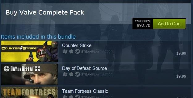 Бандлы в Steam будут стоить меньше, если в аккаунте игрока уже есть некоторые игры из него