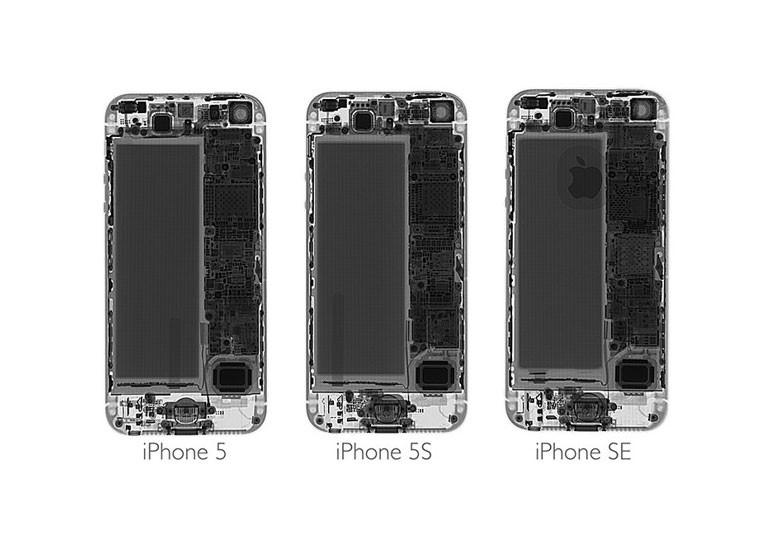 В iPhone SE используется ряд компонентов, идентичных с iPhone 5s, но аккумулятор имеет большую ёмкость