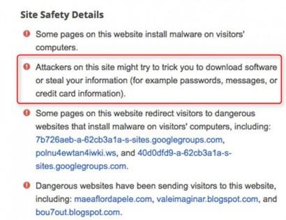 Google попал всписок рискованных веб-сайтов