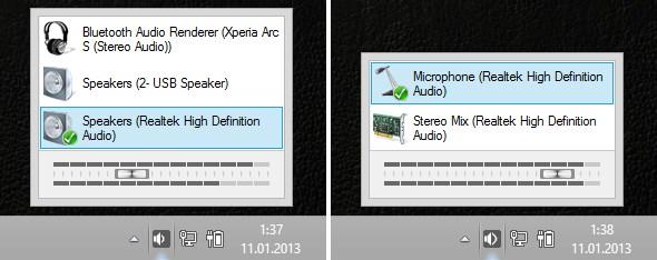 В новой сборке Windows 10 появилось быстрое переключение звуковых карт с панели задач