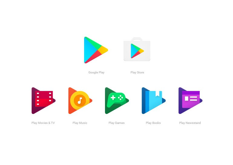Иконки приложений семейства Google Play получили новый дизайн, выполненный в едином стиле