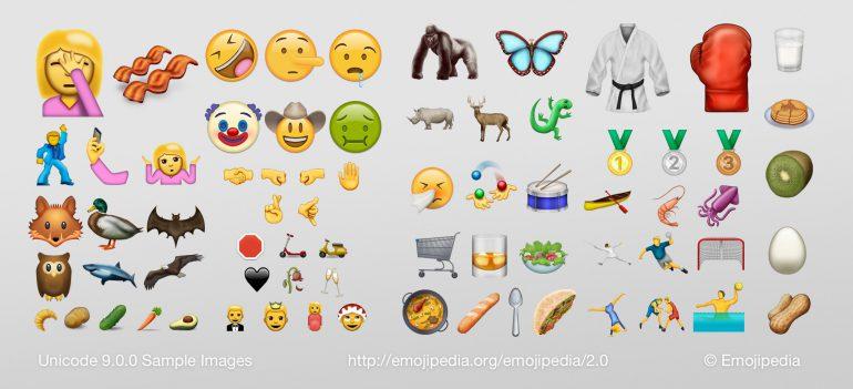 В стандарт Unicode 9 добавлена поддержка 72 новых иконок emoji