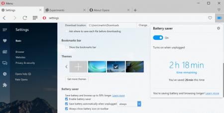 В режим энергосбережения Opera 40 добавили дополнительные опции
