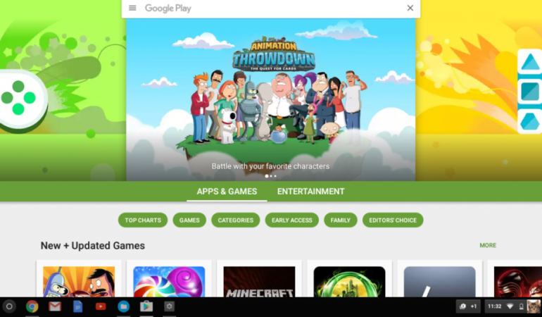 Google Play и поддержка Android приложений появились в стабильной версии Chrome OS