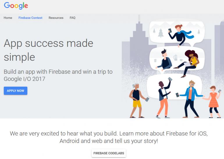 Google предлагает создать мобильное приложение на платформе Firebase и выиграть билет на Google I/O 2017