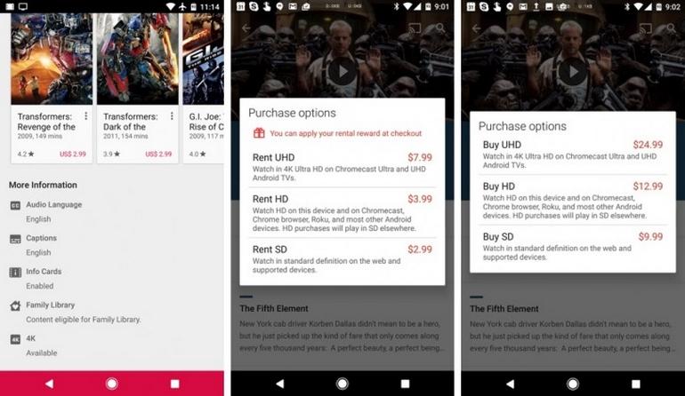 ВGoogle Play Movies начали появляться фильмы вформате 4K