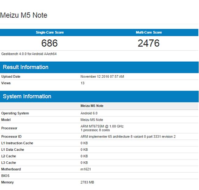 Geekbench и AnTuTu рассказали о некоторых характеристиках смартфона Meizu M5 Note