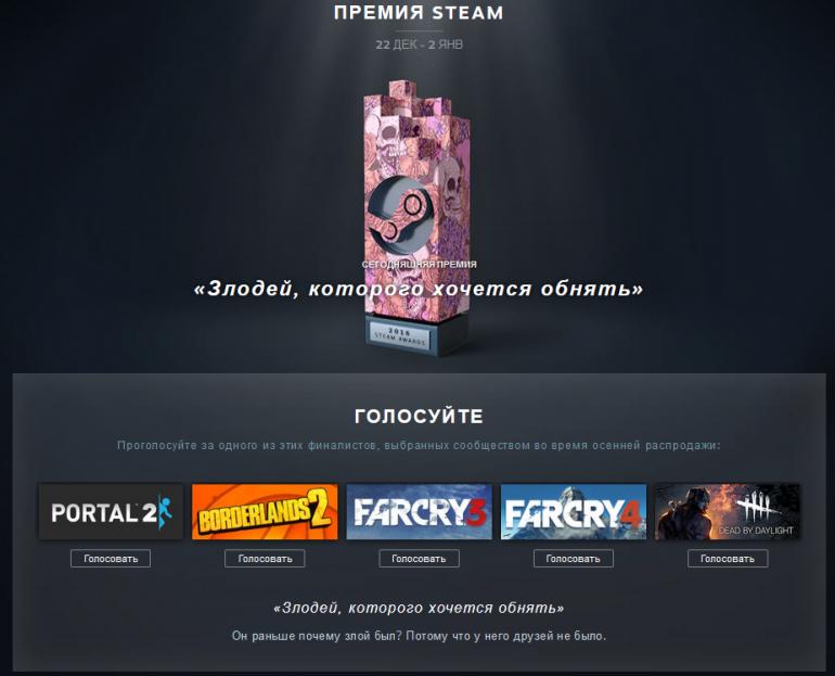 В Steam стартовала традиционная зимняя распродажа и голосование за Премию Steam