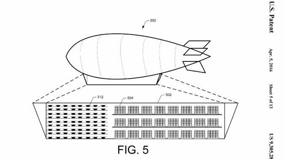 Amazon запатентовала летающий ангар для дронов