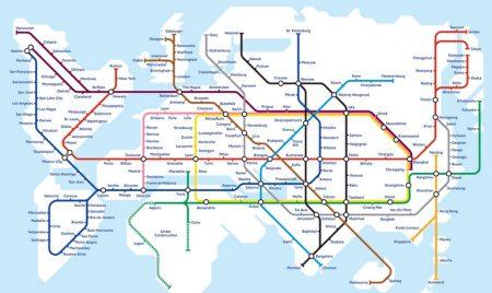 Концептуальная карта глобального метро демонстрирует, как Hyperloop может объединить весь мир