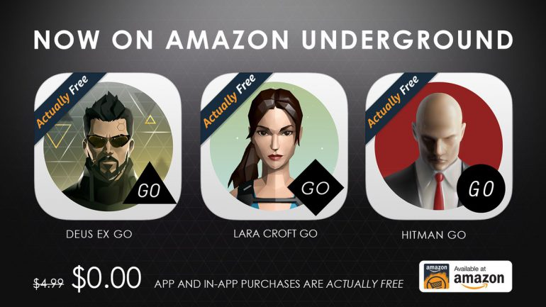 Android-игры Hitman GO, Lara Croft GO и Deus Ex GO раздают бесплатно в Amazon