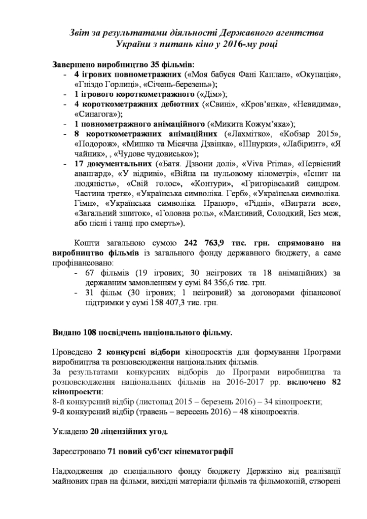 Суммарные кассовые сборы от кинопроката в Украине в 2016 году составили 1,7 млрд грн (треть из них была собрана в Киеве)