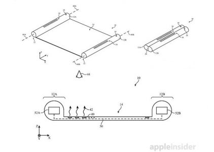 "Apple запатентовала концепт ""электронного свитка"" с гибким OLED-экраном, наматывающимся на цилиндры-держатели"