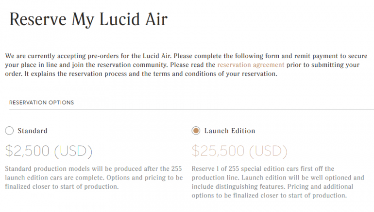 Базовую версию электромобиля премиум-класса Lucid Air оценили всего в $52,500, однако опции могут поднять его стоимость до $100 тыс.
