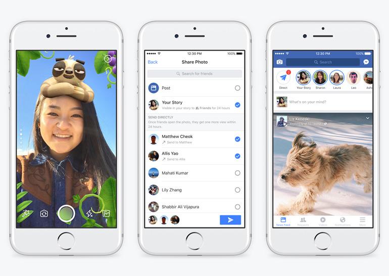 Вприложение социальная сеть Facebook добавили личные сообщения исервис Stories