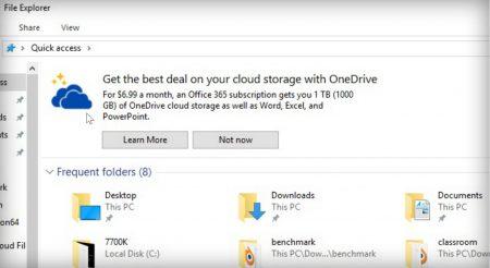 Windows 10 показывает рекламу OneDrive в Проводнике