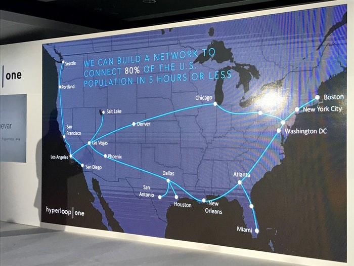 Hyperloop One завершила строительство тестового трека в Неваде и анонсировала 11 потенциальных веток, соединяющих 35 американских городов
