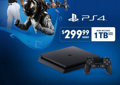 Sony удвоила объем HDD приставки PS4 Slim (1 ТБ), не меняя цену ($300)