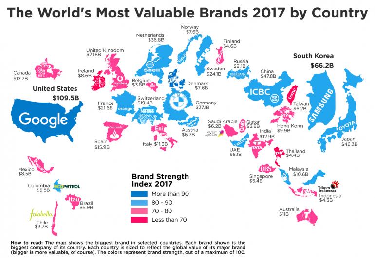 Finance's Global составили новый рейтинг самых дорогих брендов мира