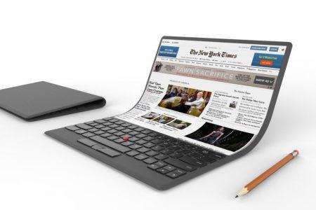Lenovo продемонстрировала неоднозначный концепт «гибкого ноутбука»